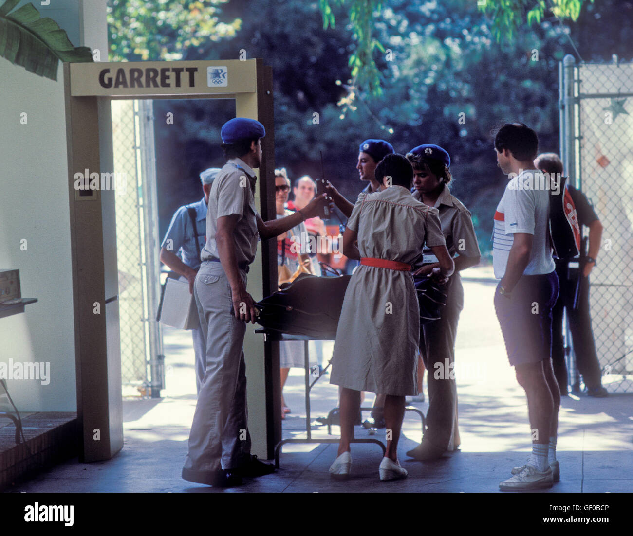 Security gate at UCLA Olympic (athletes') Village at 1984 Olympic Games in Los Angeles. - Stock Image