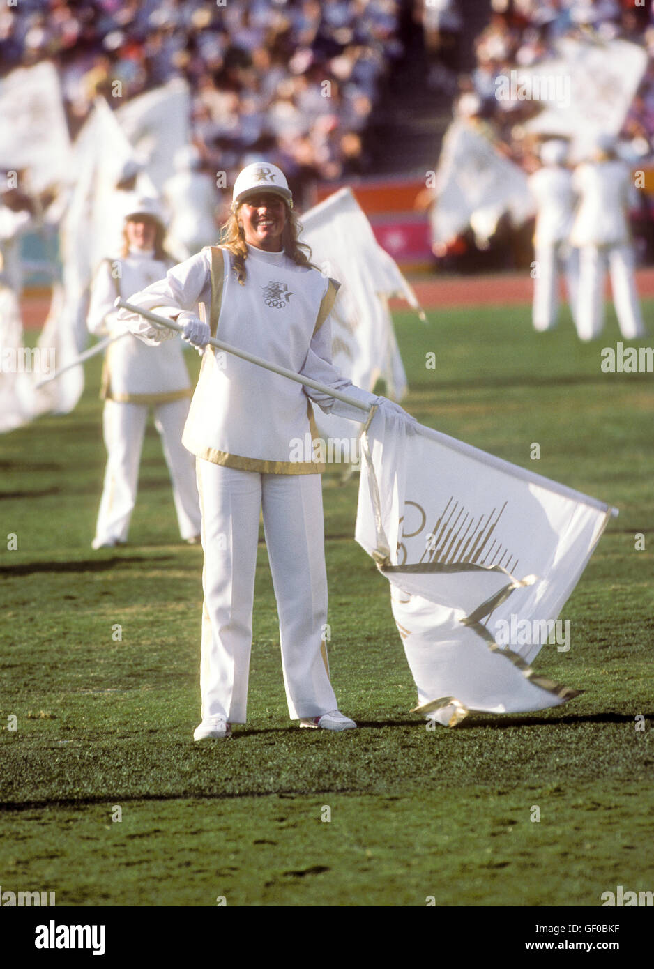 On-field performances during opening ceremonies at 1984 Olympic Games in Los Angeles. - Stock Image