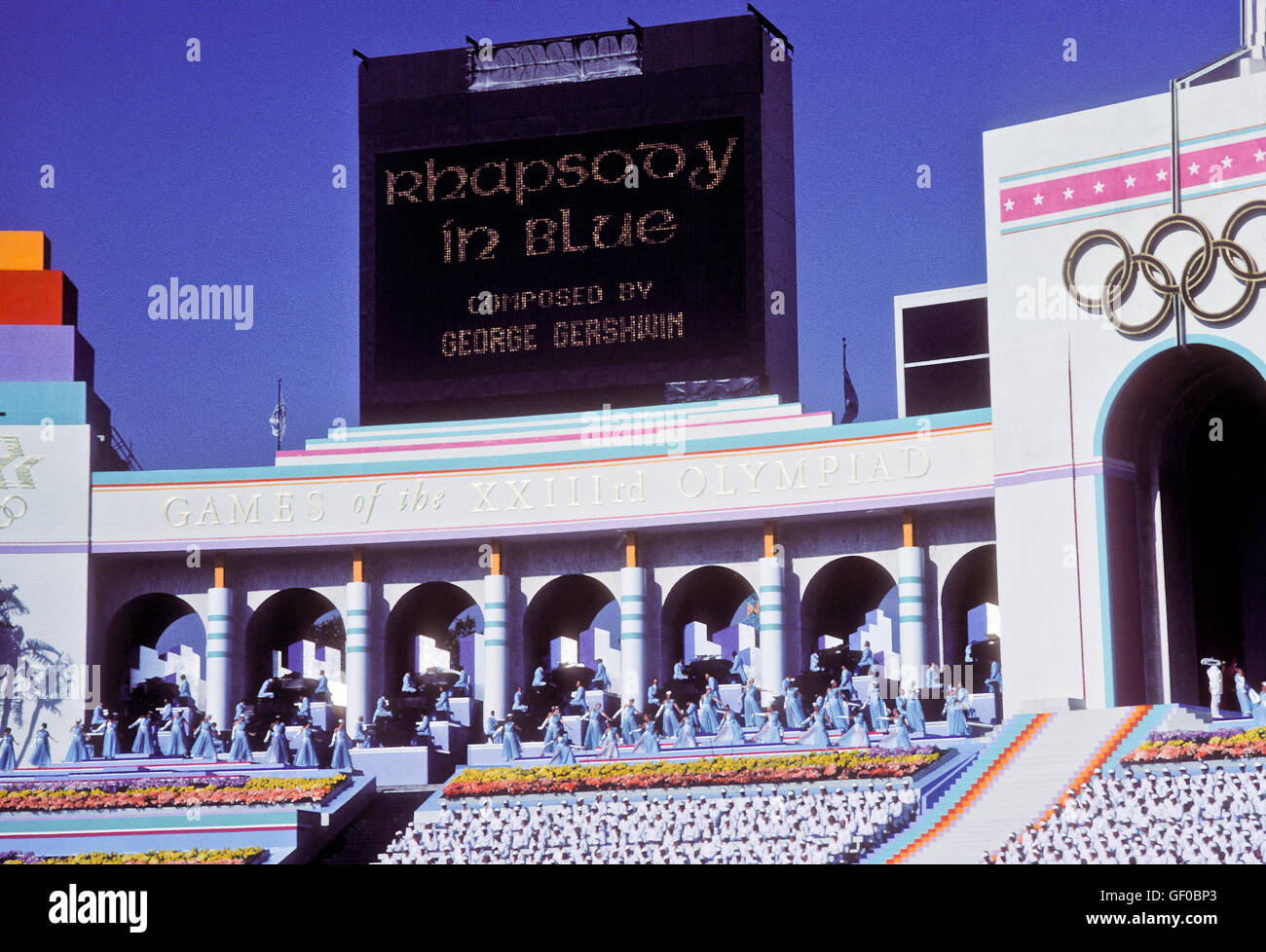 Musical performances during opening ceremonies at 1984 Olympic Games in Los Angeles. - Stock Image