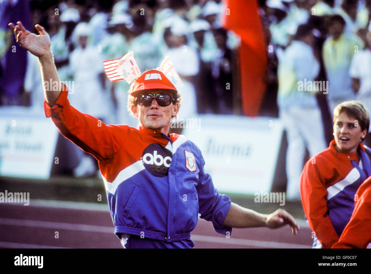 US athletes enter stadium during opening ceremonies at 1984 Olympic Games in Los Angeles. - Stock Image