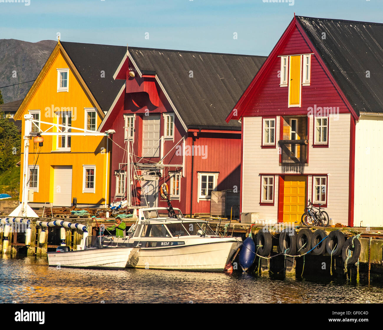 Colorful Fishing Boats in Bay, Bud More and Romsdal, West Coast, Norway, Scandanavia, European - Stock Image