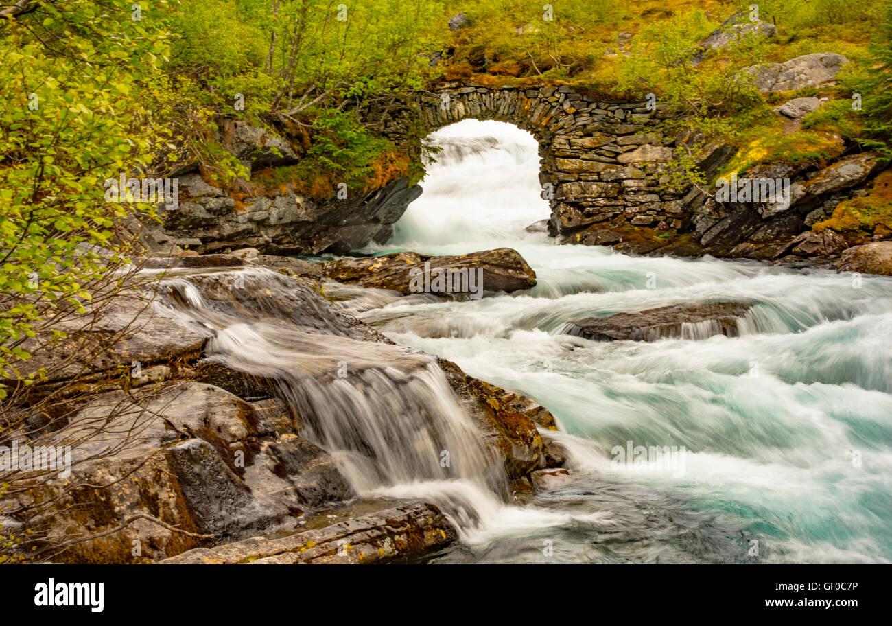 Trollistegen, Waterfalls, Rivers, and Stone Bridge. Reinheimen National Park, Norway, Scandanavia, Europen - Stock Image