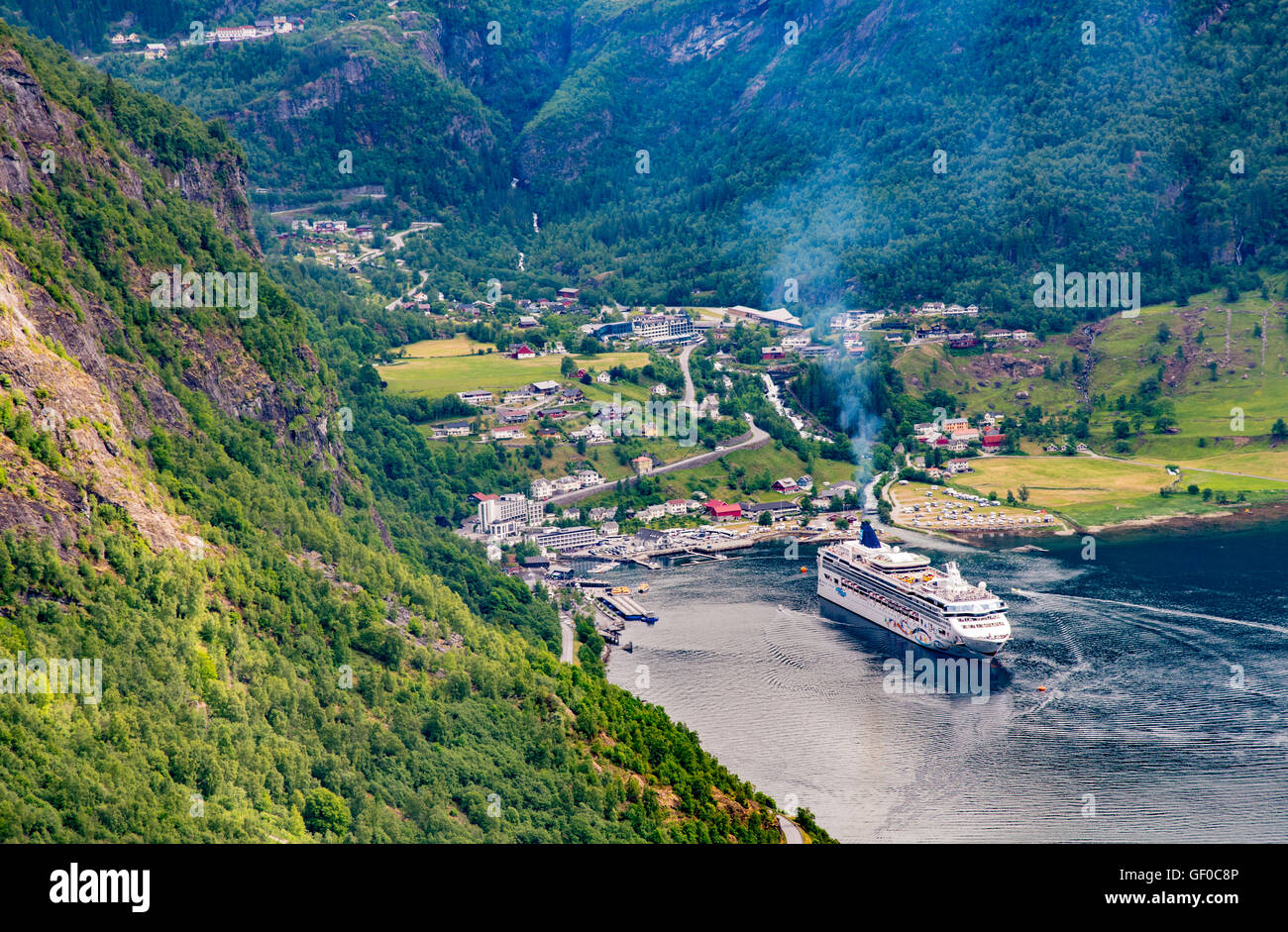View of the Village of Geiranger Fiord Harbour Port, Norway, Scandanavia, European - Stock Image