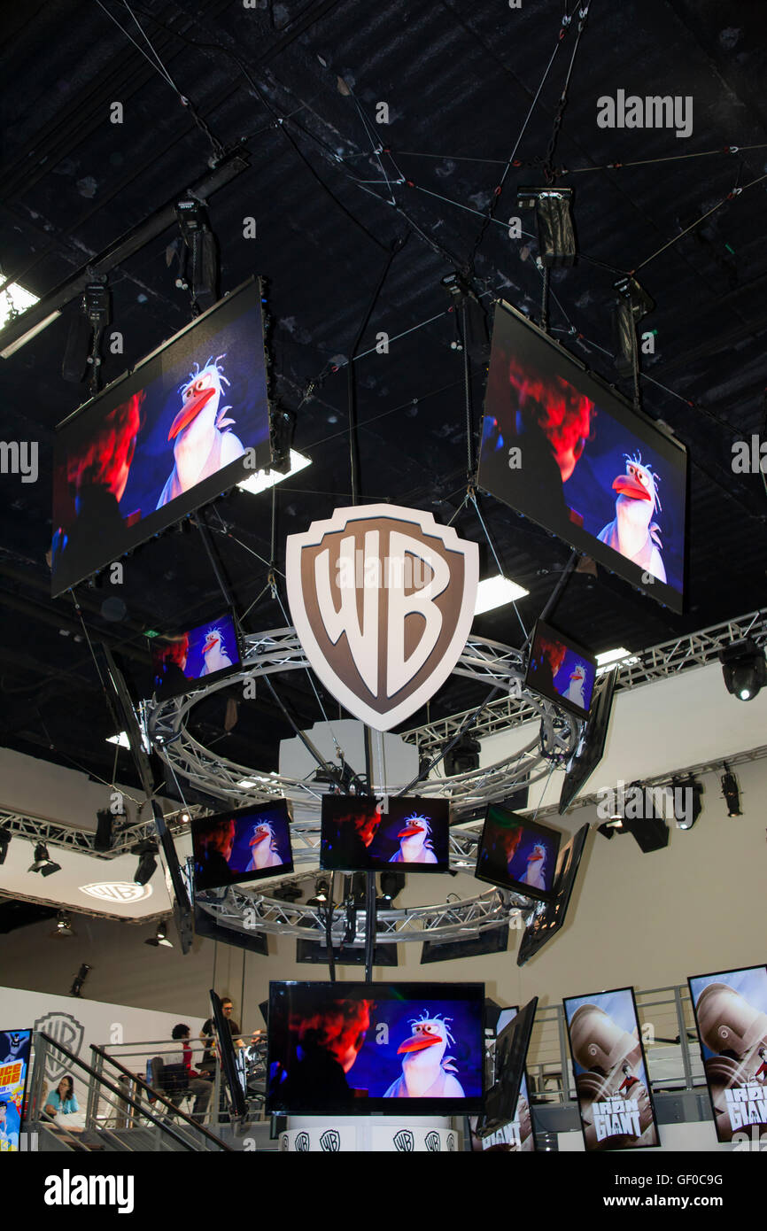 The WB Television booth at San Diego Comic Con July 2016. Stock Photo