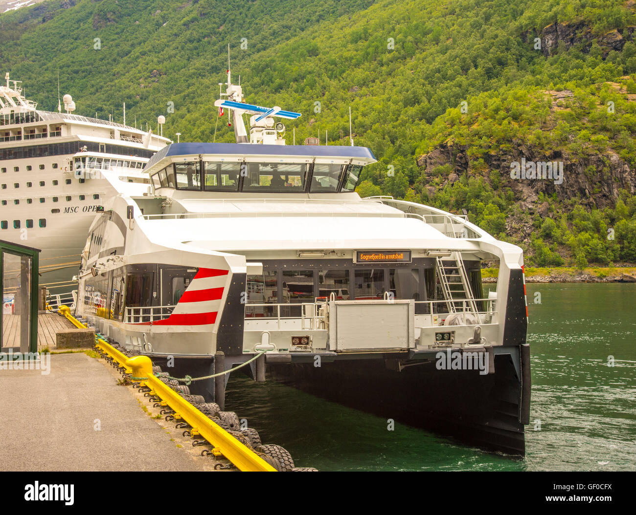 Songnefjord Ferry Express boat docked at Flam Harbour, Flam, Norway, Scandanavia, Europen - Stock Image