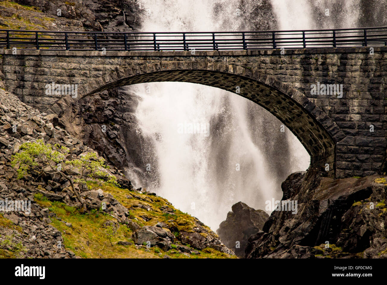 StigfFossen Waterfalls & Stone Bridge, Trollstigen Mountain Rd., Reinheimen Nat. Park, Norway, Scadanavia, European - Stock Image
