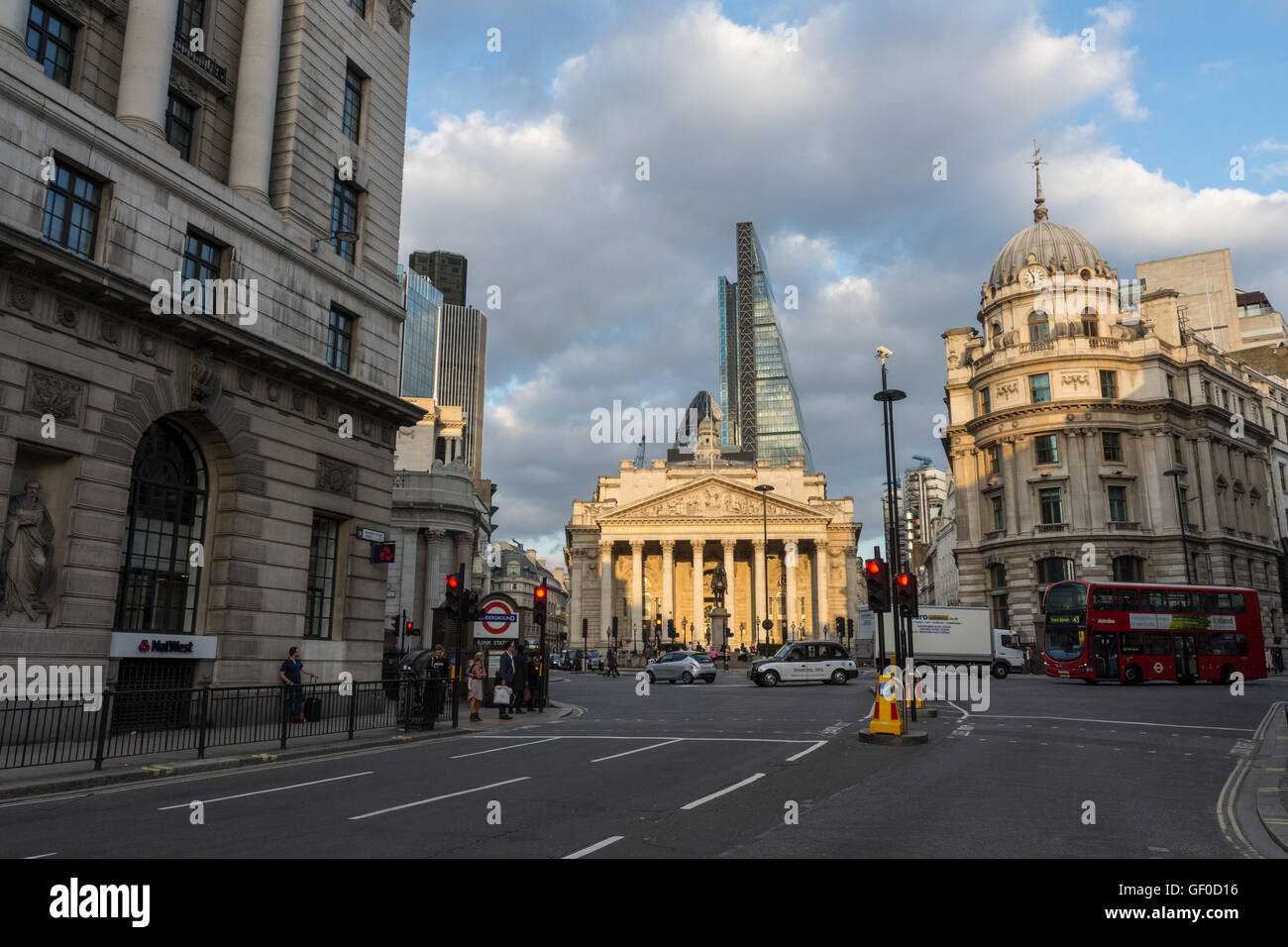 The Royal Exchange London England with surrounding streets - Stock Image