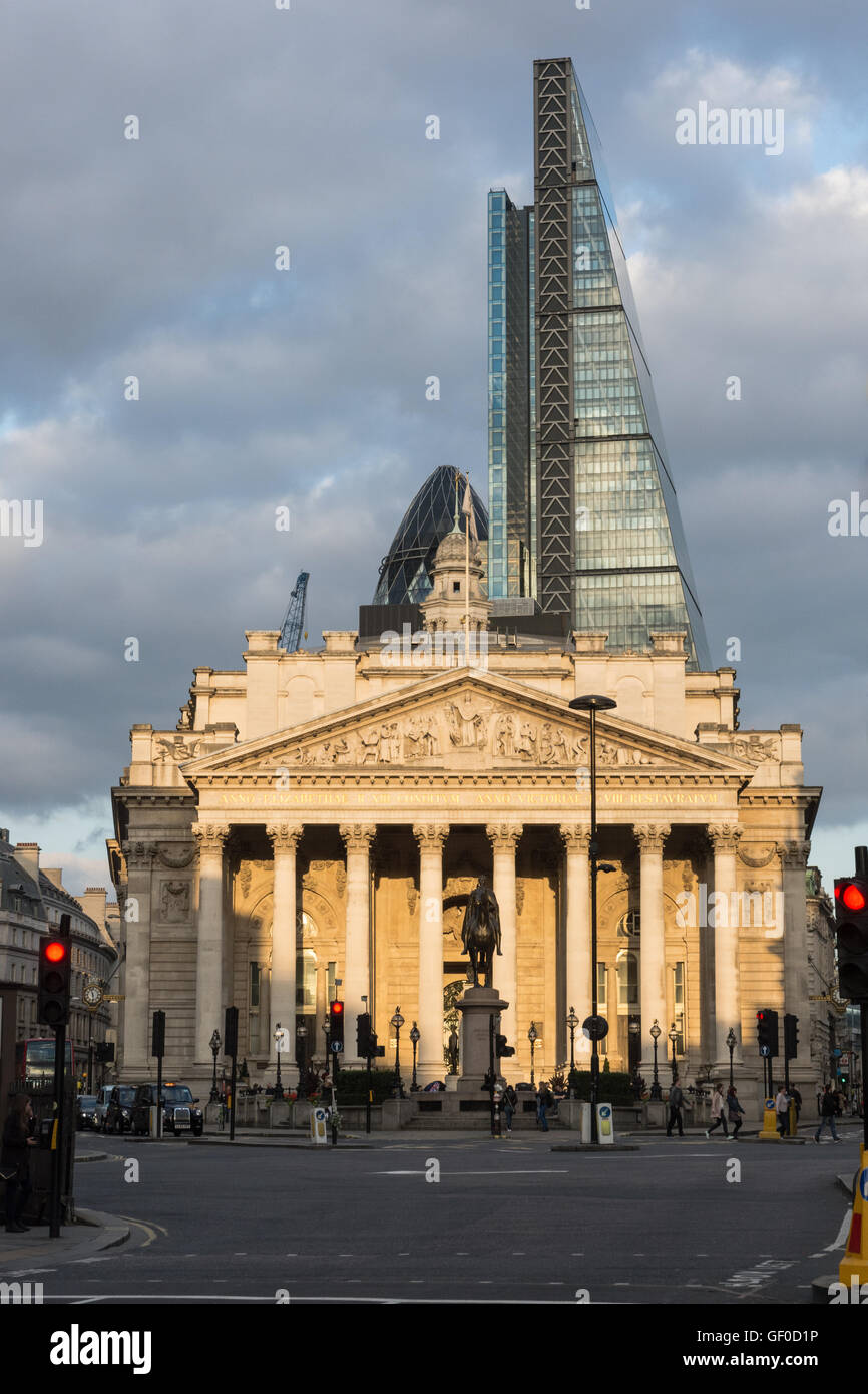 The Royal Exchange London England view from Mansion House Street - Stock Image