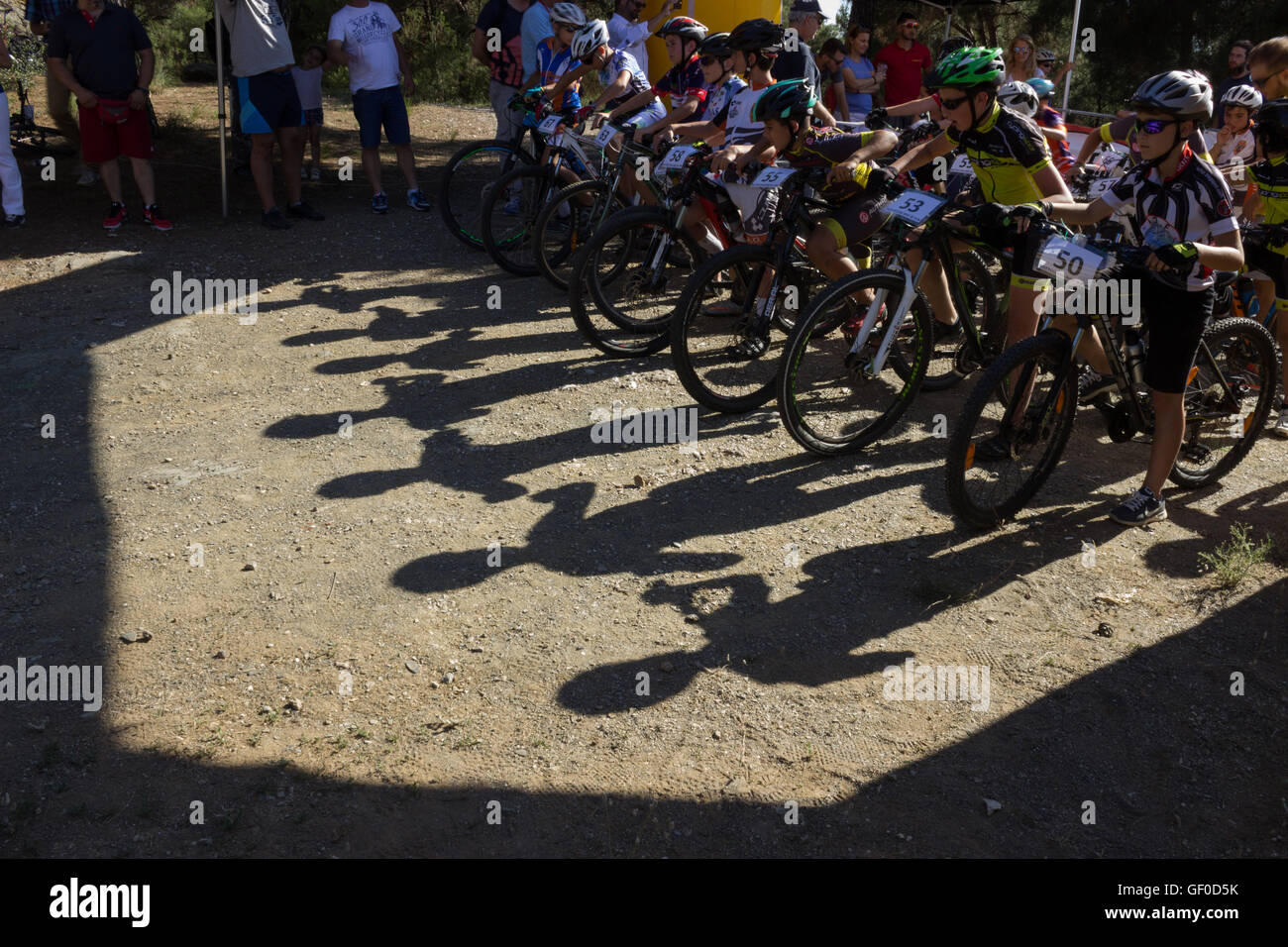 Racer's shadows waiting at the starting point. BIKE and FUN CUP, Seix sou (Seih Sou) forest, Summer 2016, Thessaloniki, - Stock Image
