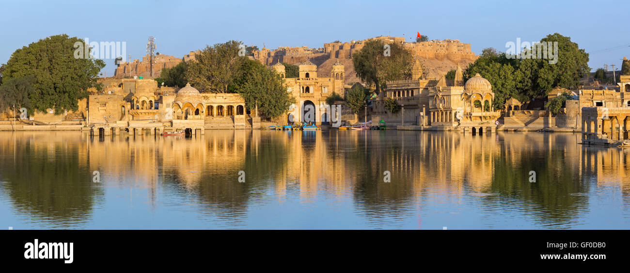 Gadi Sagar (Gadisar) Lake is one of the most important tourist attractions in Jaisalmer, Rajasthan, India. - Stock Photo