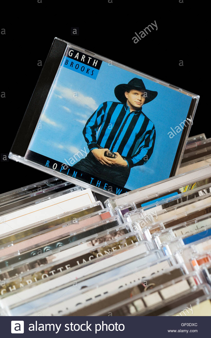The 1991 Garth Brooks album Ropin' the Wind, pulled out from rows of other CD's Stock Photo