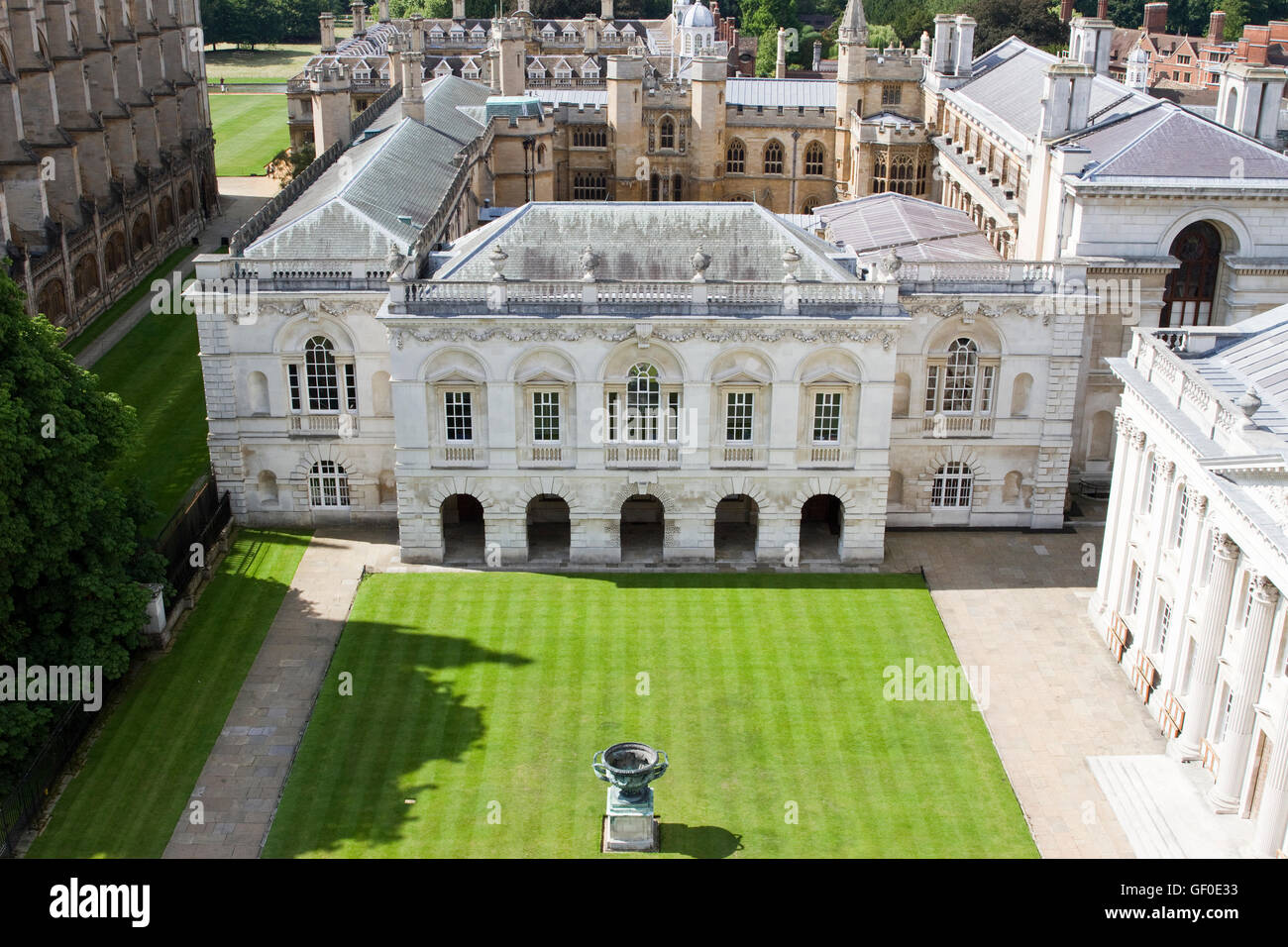The Old Schools and Senate House, as as seen from the tower of Great St Mary's Church. King's College Chapel - Stock Image