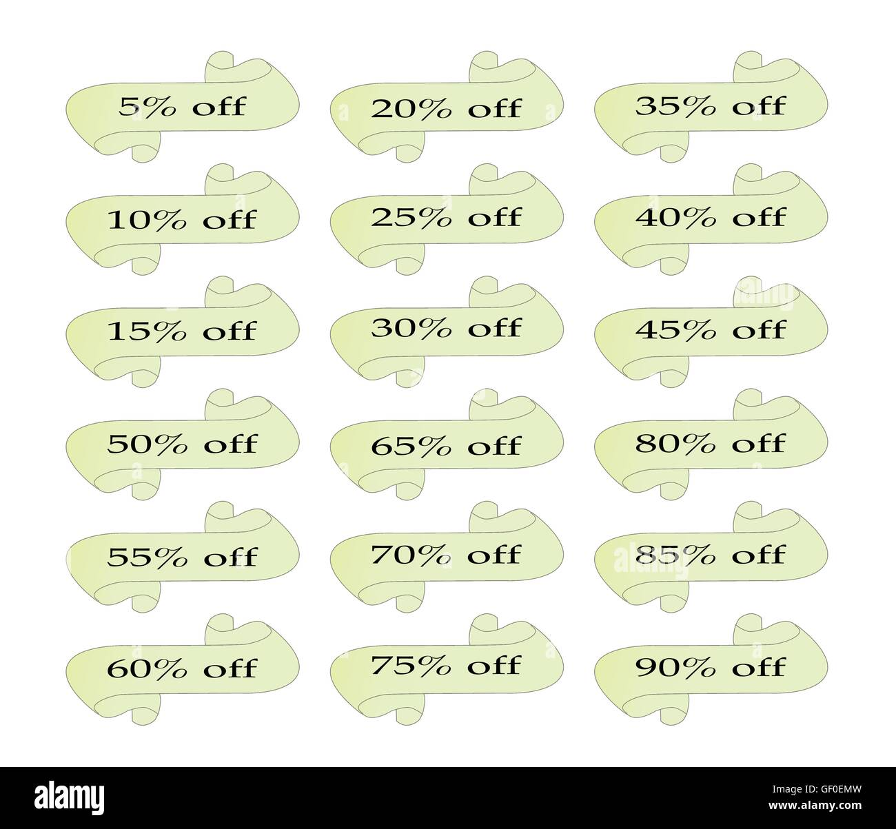 A set of scrolls with an array of discount percentages - Stock Image