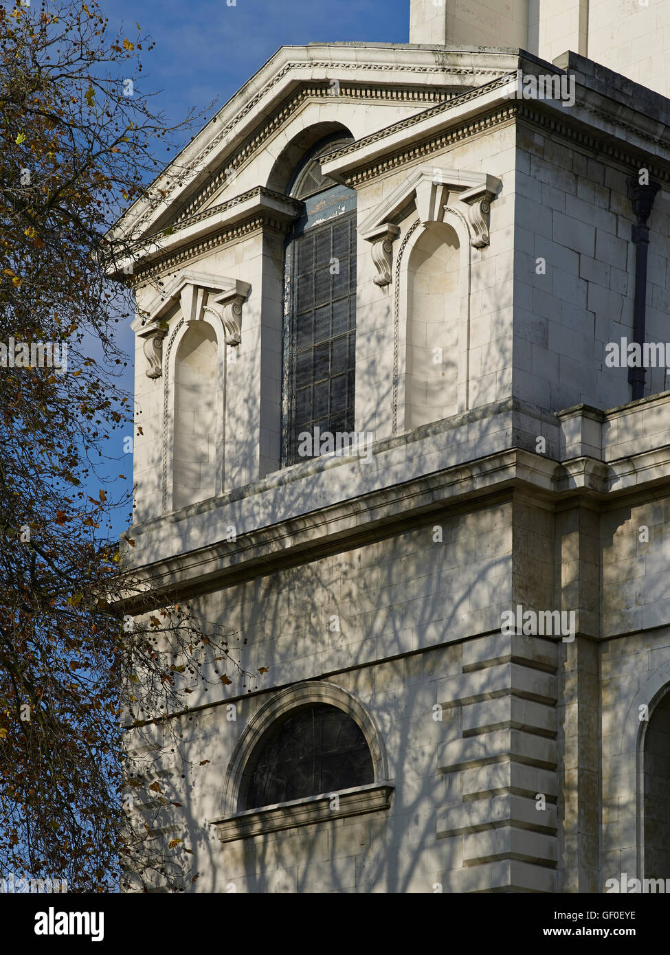 St Anne's Limehouse south west corner; by Nicholas Hawksmoor 1714-27. - Stock Image