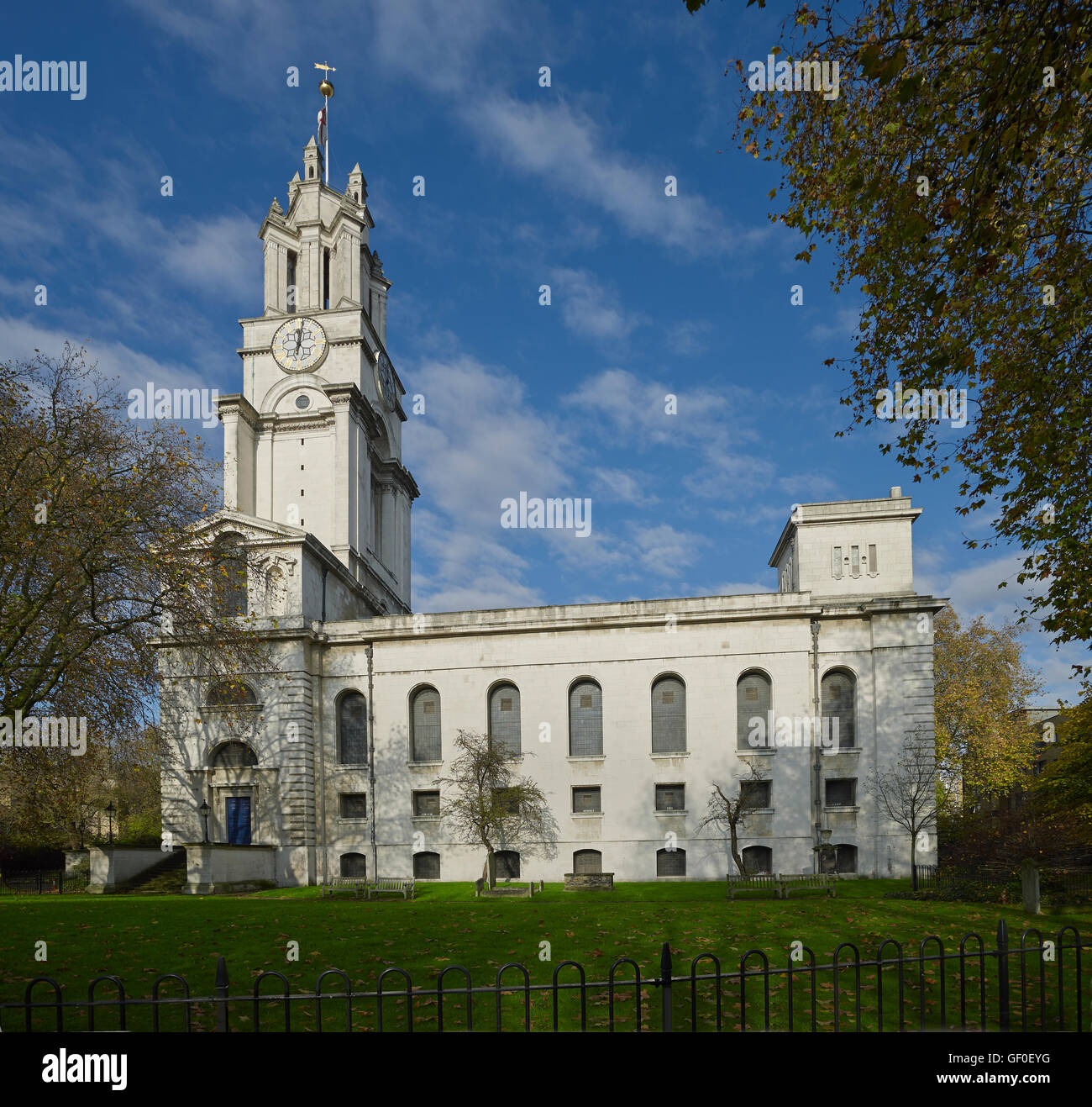 St Anne's Limehouse south front; by Nicholas Hawksmoor 1714-27. - Stock Image