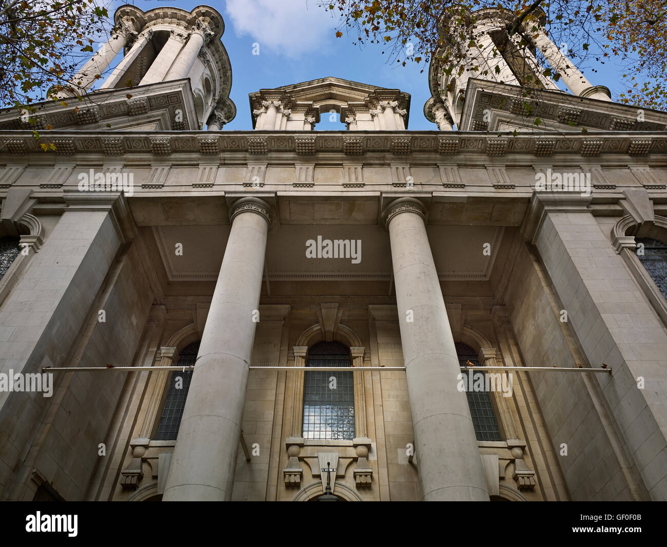 St John's Smith Square. South front portico; by Thomas Archer between 1713 and 1728. - Stock Image