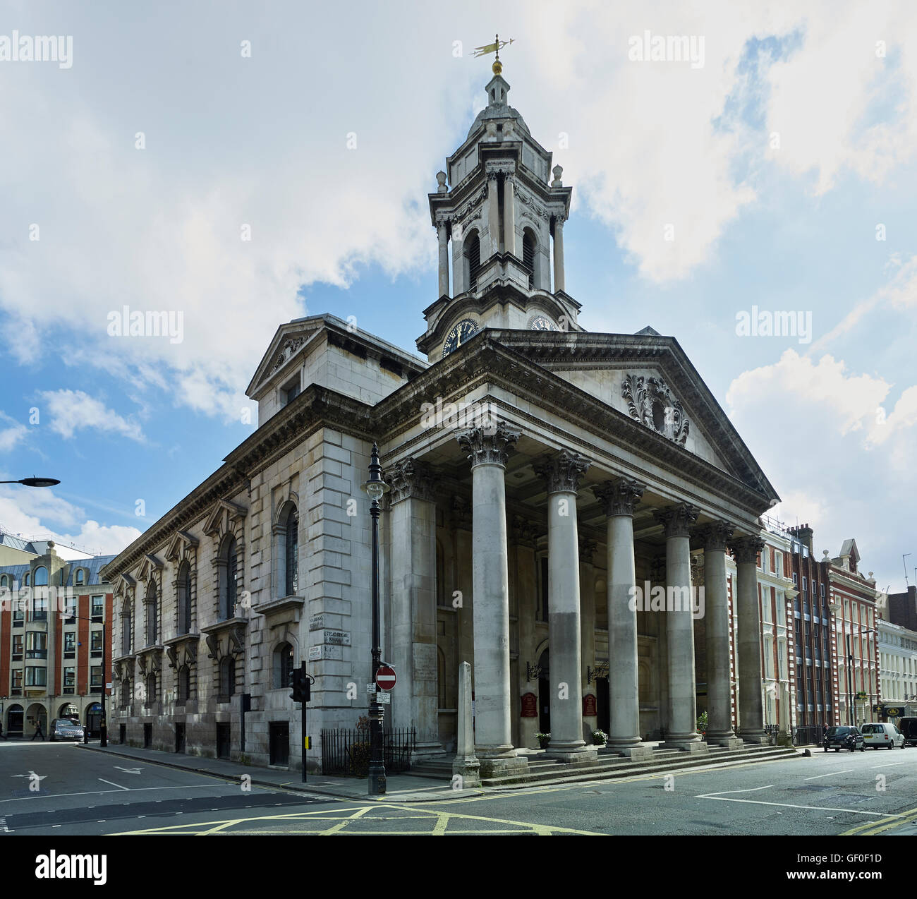 St George's Hanover Square. Portico and tower; built by John James between 1721 and 1725. - Stock Image