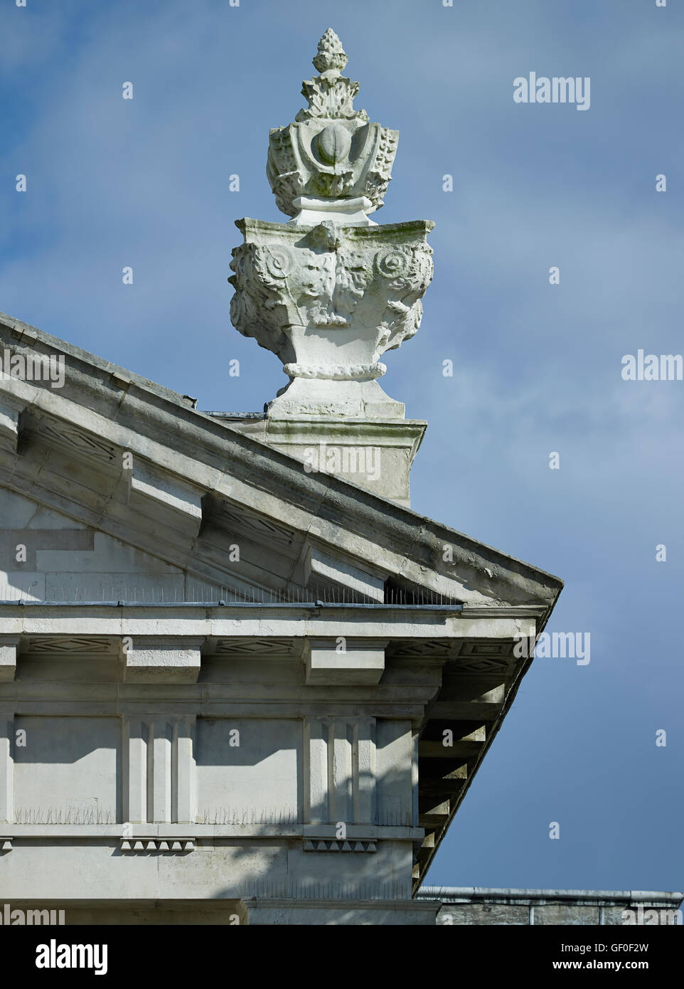 Saint Alfege Greenwich, pediment and urn. Built by Nicholas Hawksmoor 1712-18. Stock Photo