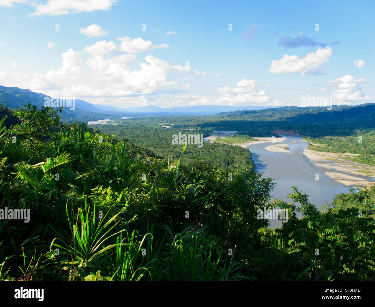 The view of Manu National Park from the mountains. - Stock Image