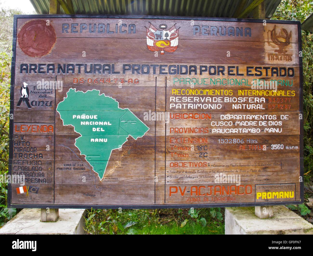 The sign at the entrance of Manu National Park, Peru. - Stock Image