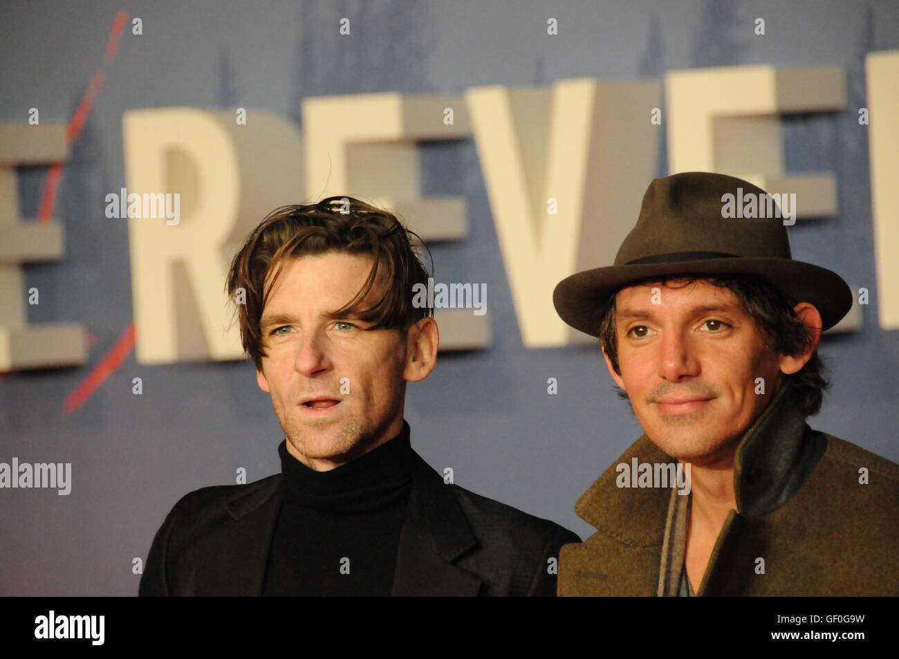 The actors, Paul Anderson and Lukas Hass, attending the London film premiere of The Revenant. - Stock Image