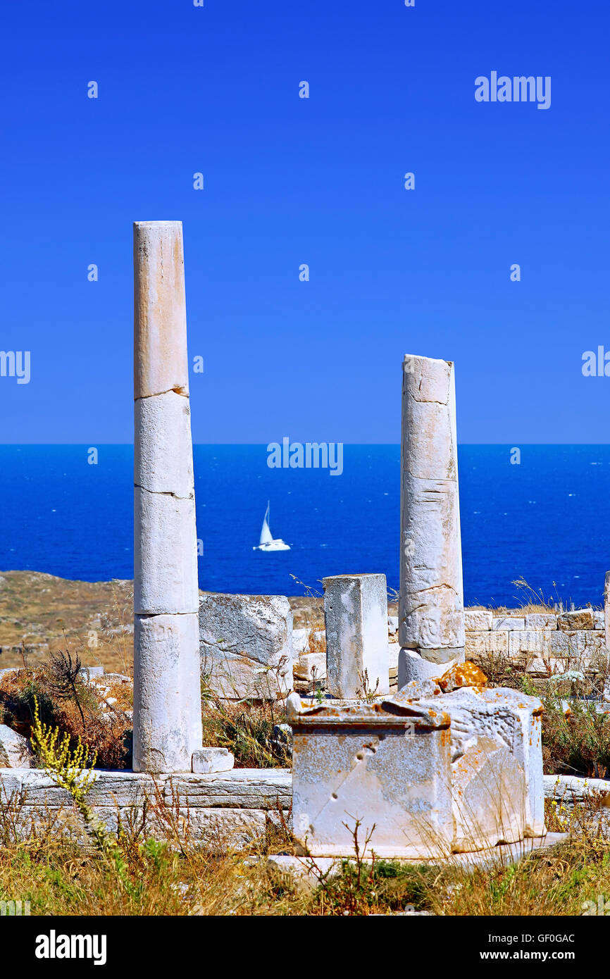 Archeological site of Delos in Cyclades islands, Greece - Stock Image
