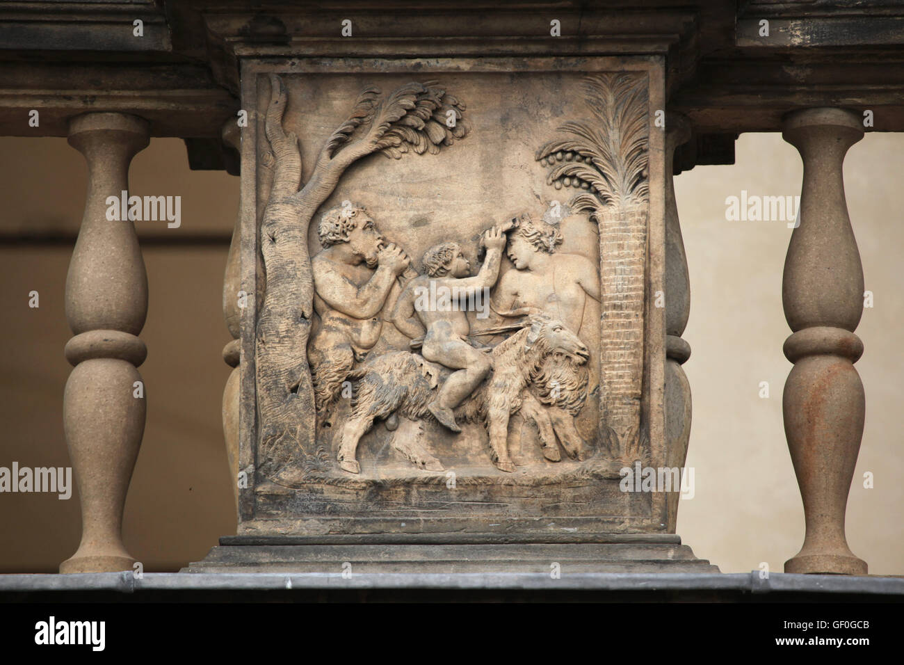 Bacchanalia. Renaissance relief on the Summer Palace of Queen Anna in the Royal Garden of Prague Castle in Prague, Stock Photo