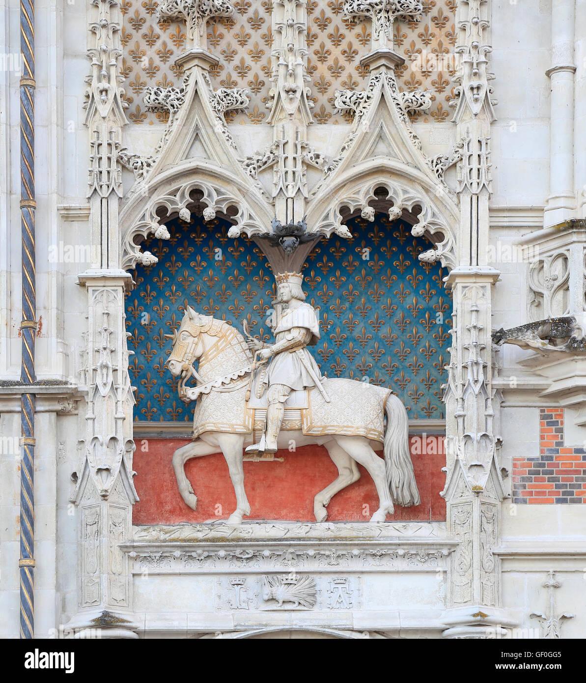 The Royal Chateau de Blois, exterior facade detail - Stock Image