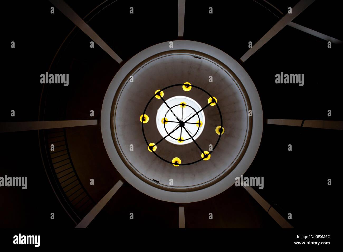Abstract light fixture in Cork Gaol, Cork, Ireland. - Stock Image