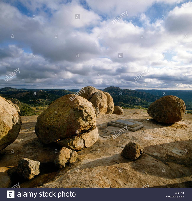 Rhodes Matopos National Park Zimbabwe Cecil Rhodes Grave UNESCO World Heritage Site - Stock Image