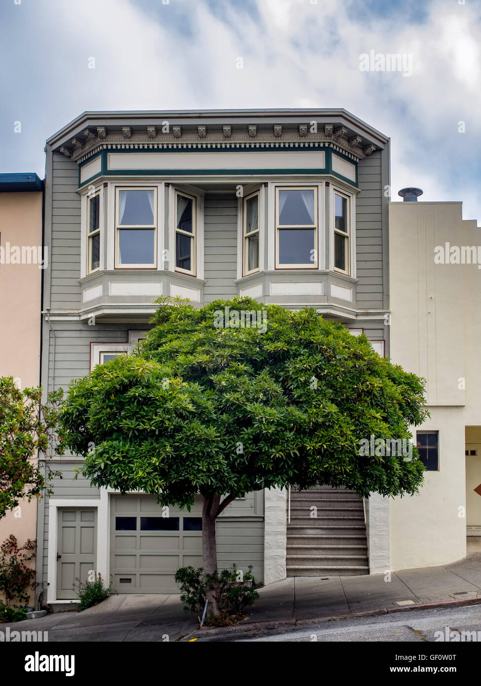 Painted Ladies victorian home in San Francisco, USA - Stock Image