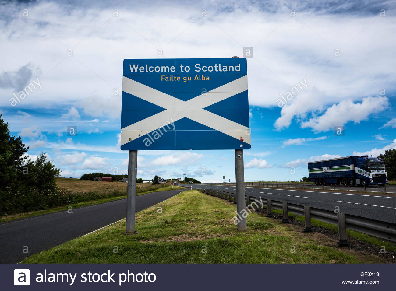 The Anglo Scot Border on the A1 road just North of Berwick upon Tweed. - Stock Image