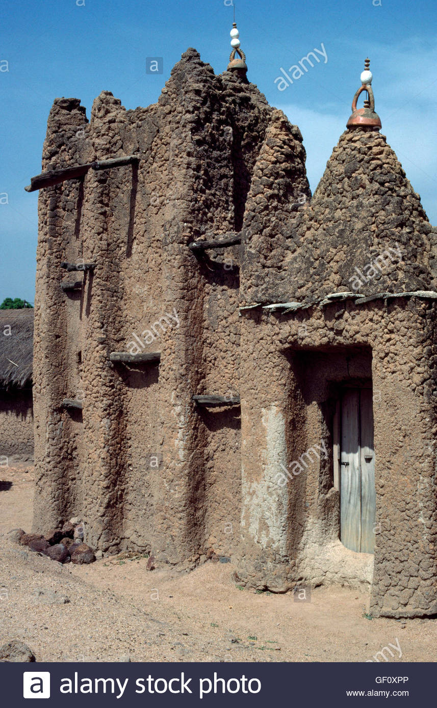 Kouto Village Ivory Coast Senoufo Country Famous For Weaving Fabric Mud Mosque - Stock Image