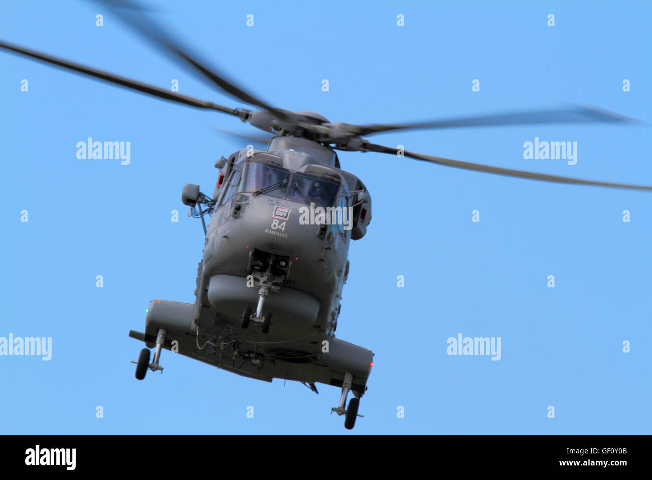 Royal Navy ZH854 (Agusta Westland) AW101-Merlin helicopter landing at RAF Valley. - Stock Image