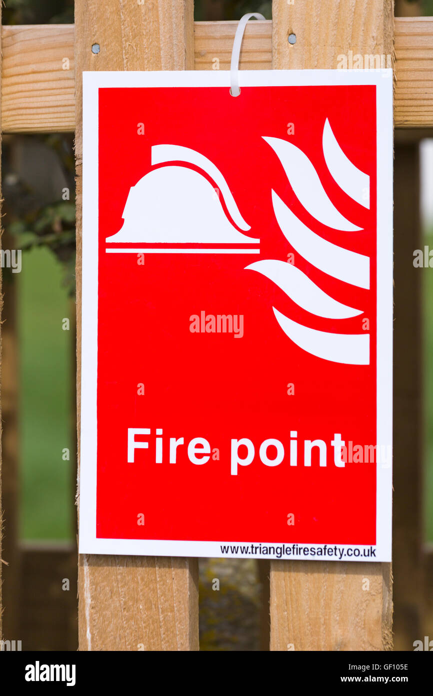 Fire point sign at New Forest & Hampshire County Show, Brockenhurst in July - Stock Image