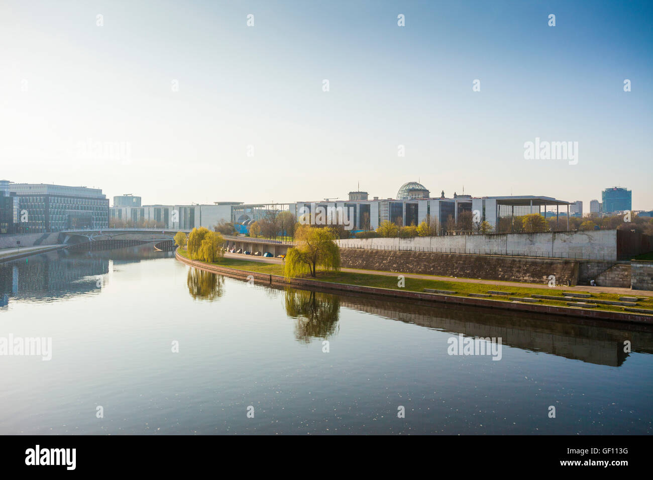 Spreebogenpark and government buildings, Berlin, German Stock Photo