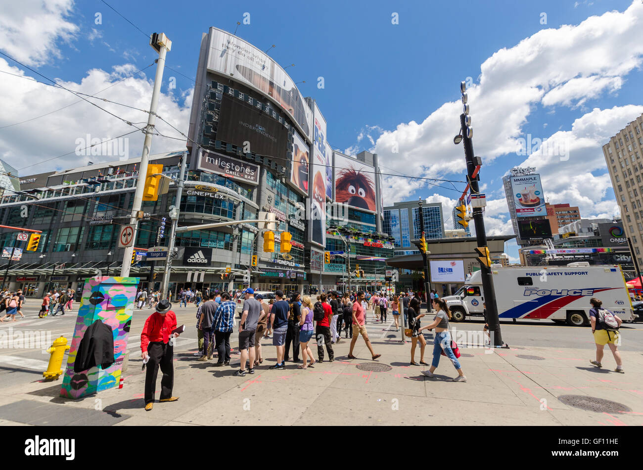 TORONTO - 2 July 2016:  Yonge-Dundas Square is considered as Toronto's Times Square. - Stock Image