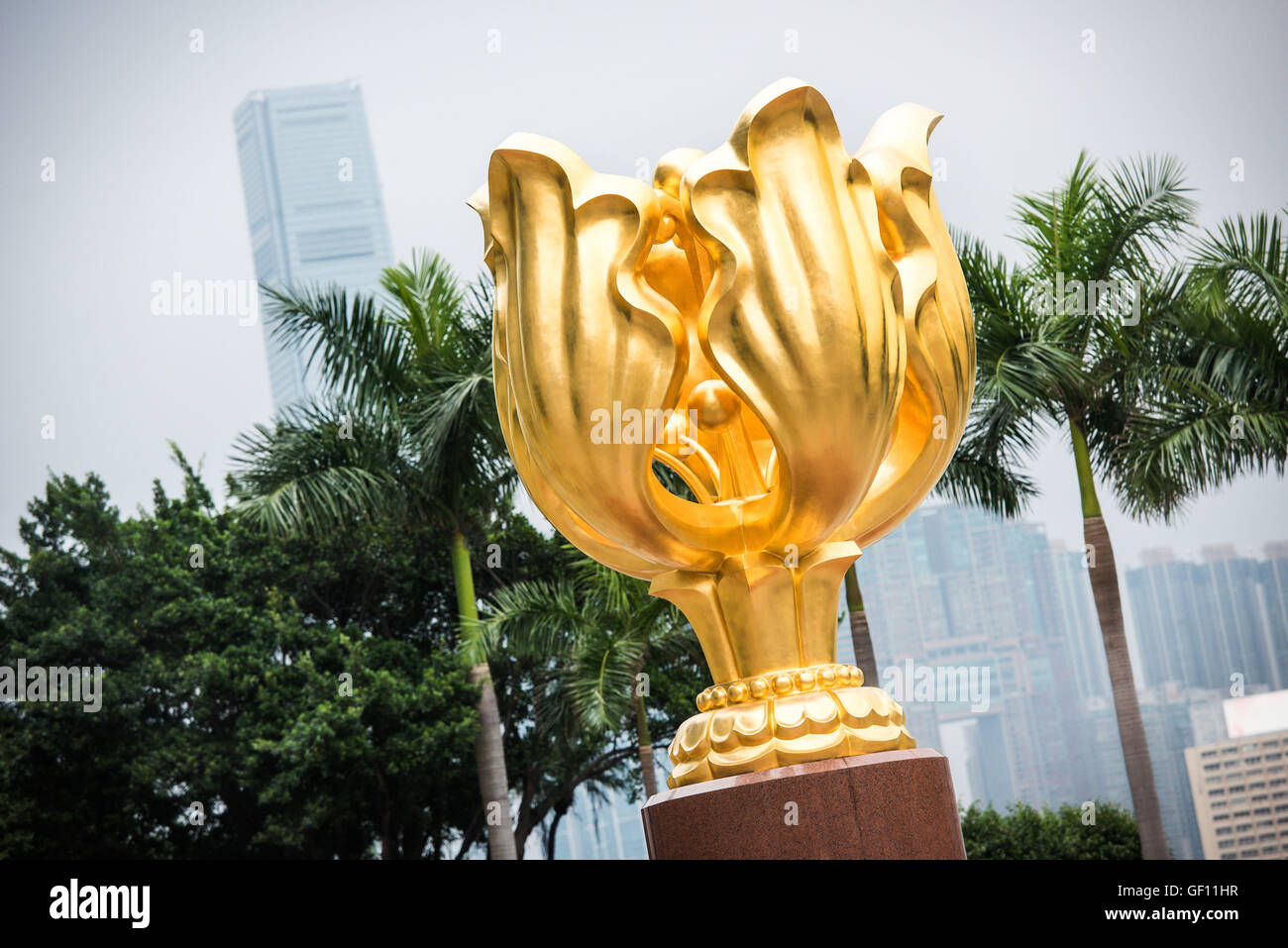 The Forever Blooming Bauhinia Sculpture on Expo Promenade or Golden Bauhinia Square, was a gift from the Beijing - Stock Image