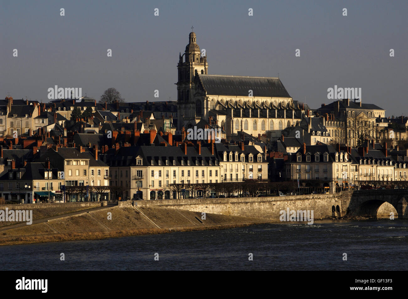 France. Blois. Cityscape with the Saint Louis cathedral built in 18th century and Jacques Gabriel bridge over the - Stock Image