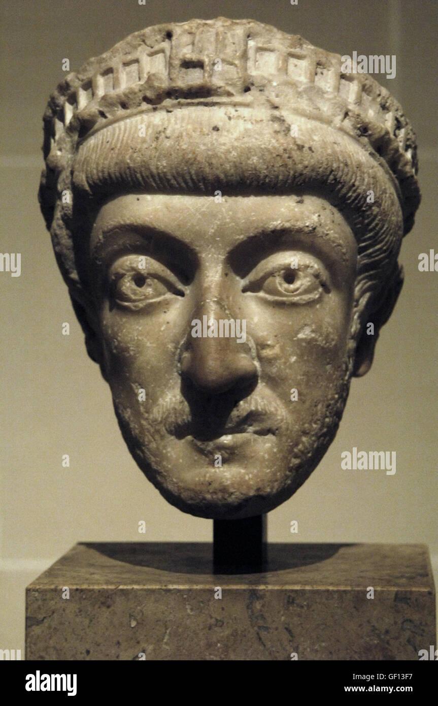 Theodosius II (401- 450), surnamed Theodosius the Younger or Theodosius the Calligrapher. Eastern Roman Emperor - Stock Image