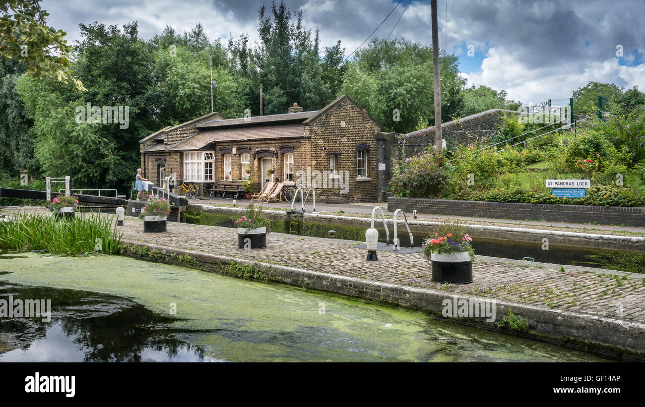 St Pancras Lock on the Regents canal in the north London borough of Camden. Stock Photo
