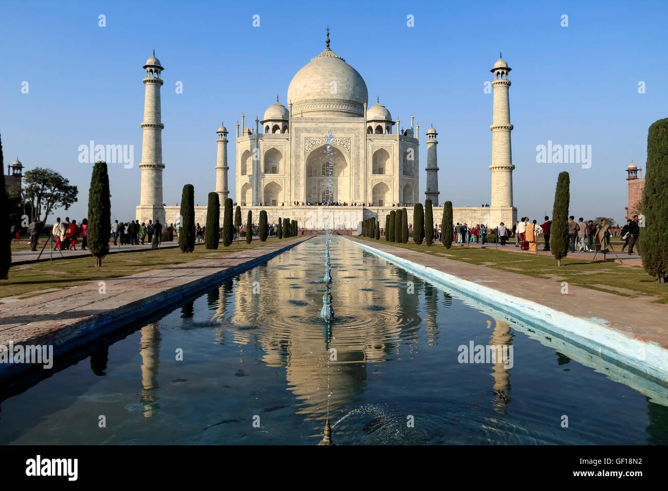 Taj Mahal, India - January 2013. View of the Taj Mahal and the reflecting pool. - Stock Image