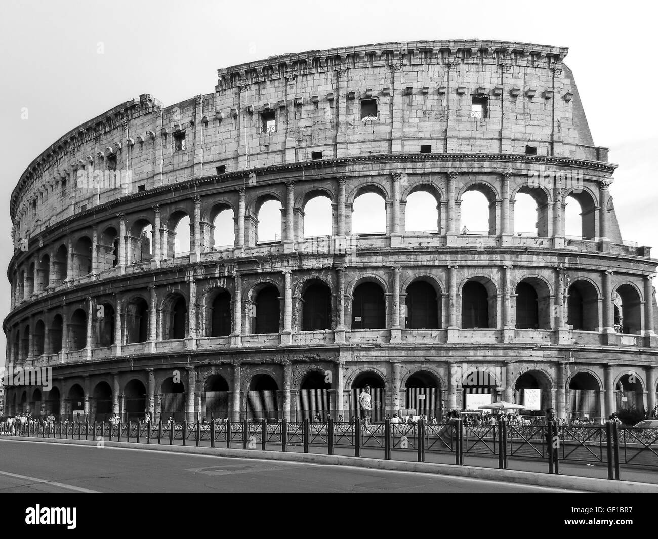 The roman coliseum in black and white stock