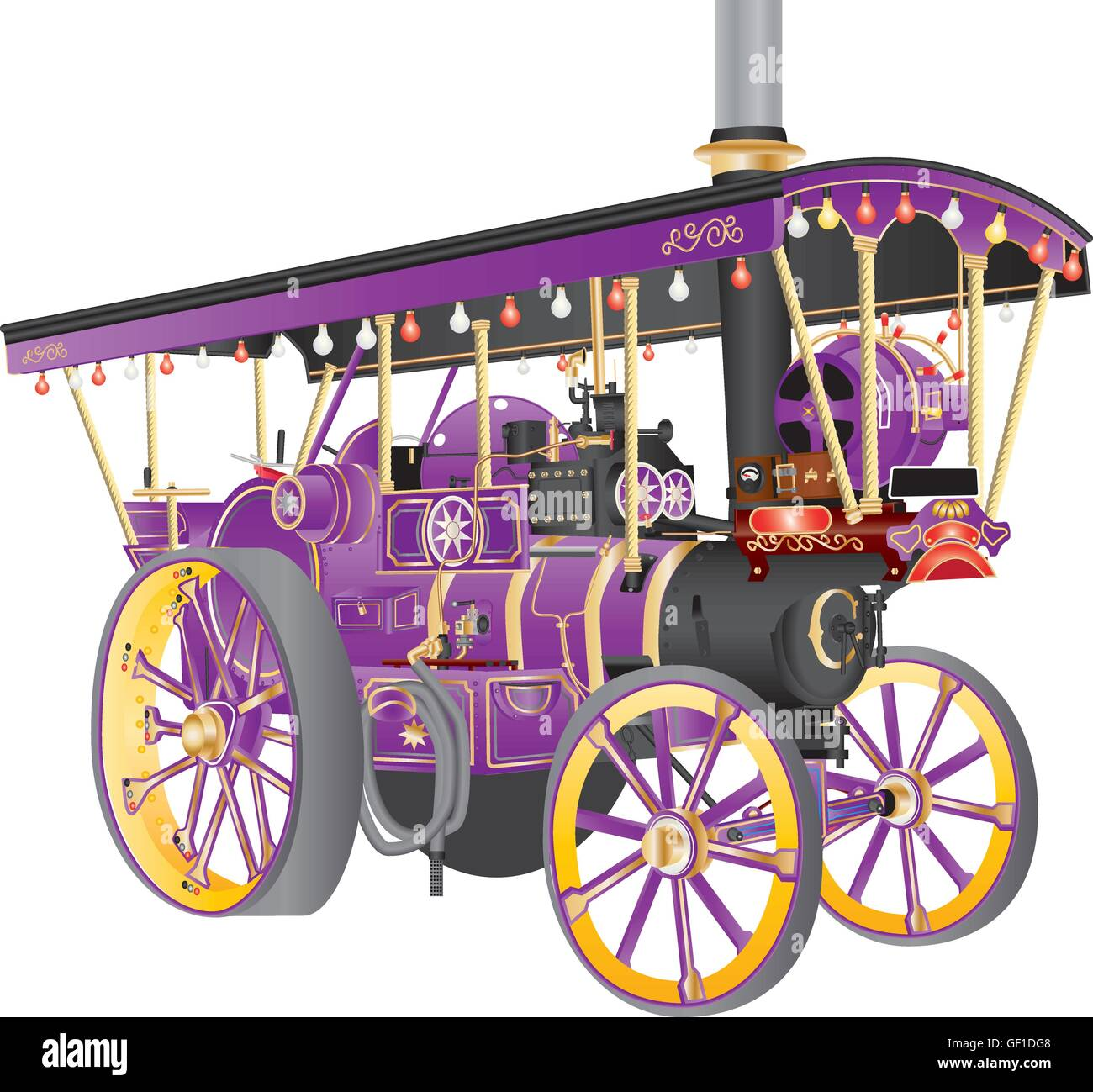 A Detailed illustration of a Richly decorated Vintage Purple and Yellow Steam Traction Engine used on Fairgrounds Stock Vector