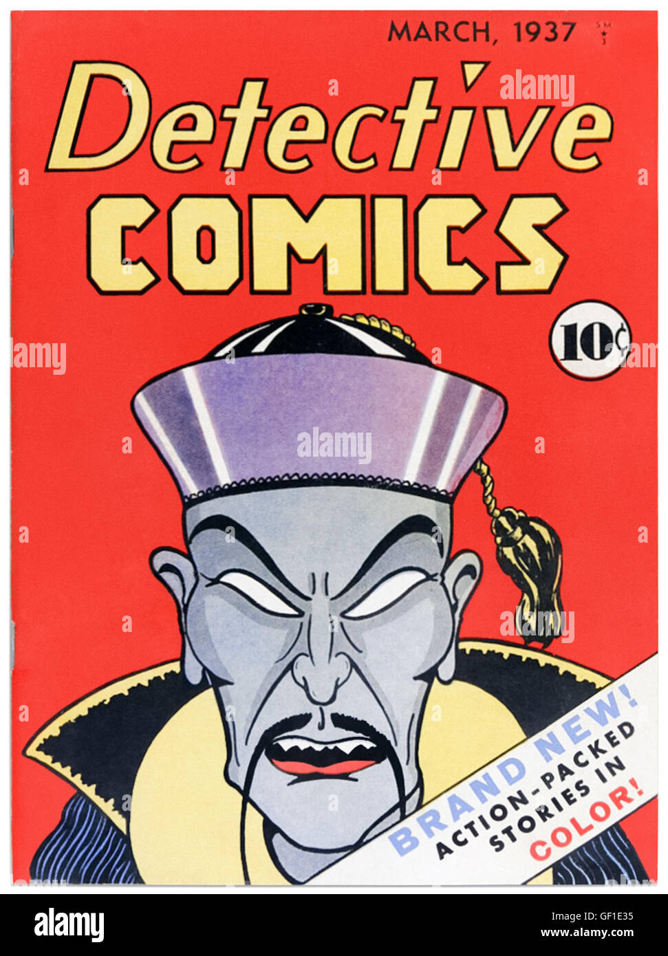 Detective Comics Issue 1 March 1937, the title that gave 'DC Comics' its name, featuring cover art by Vin Sullivan - Stock Image