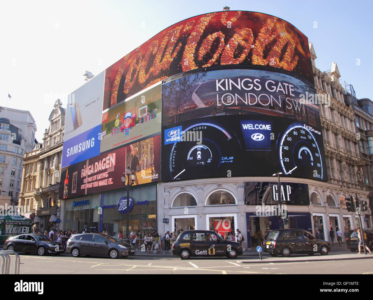 Electronic billboard at Piccadilly Circus London summer 2016 Stock Photo