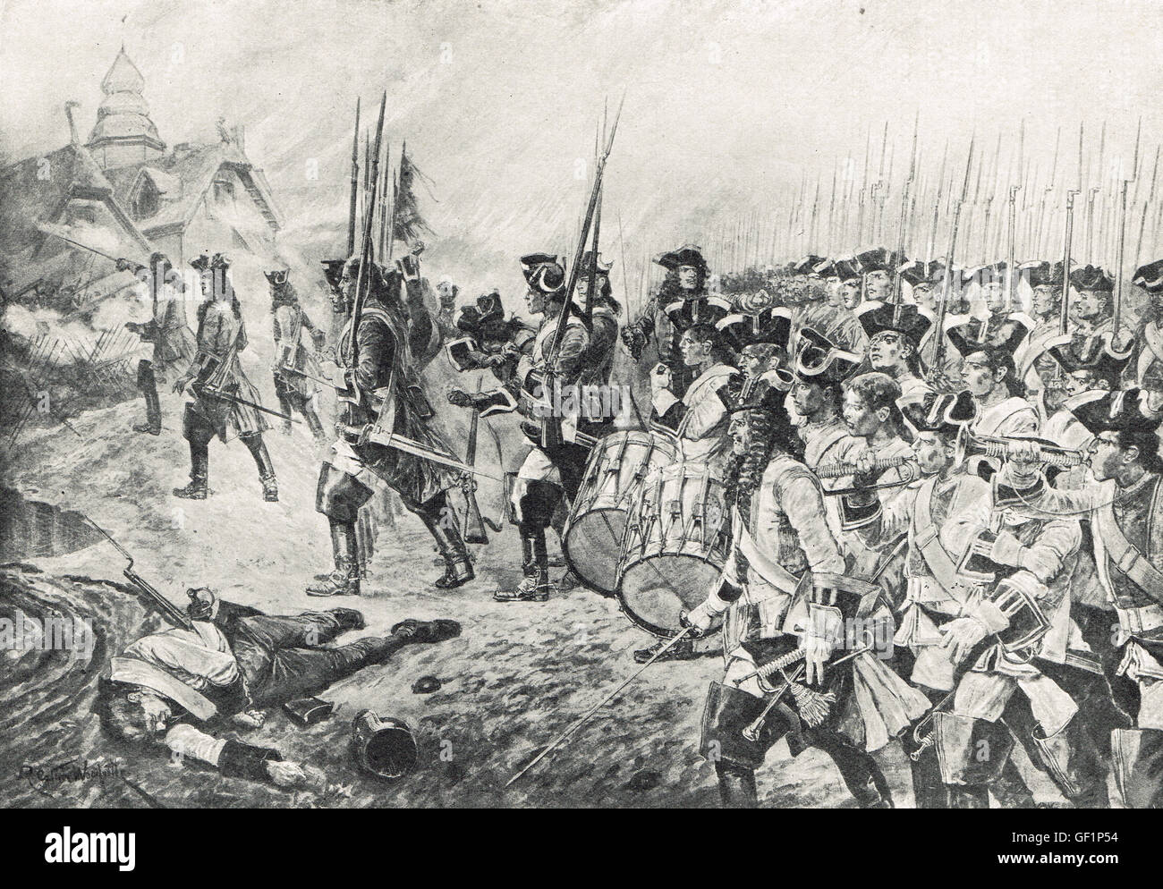 Storming the village, Battle of Blenheim, 1704 - Stock Image