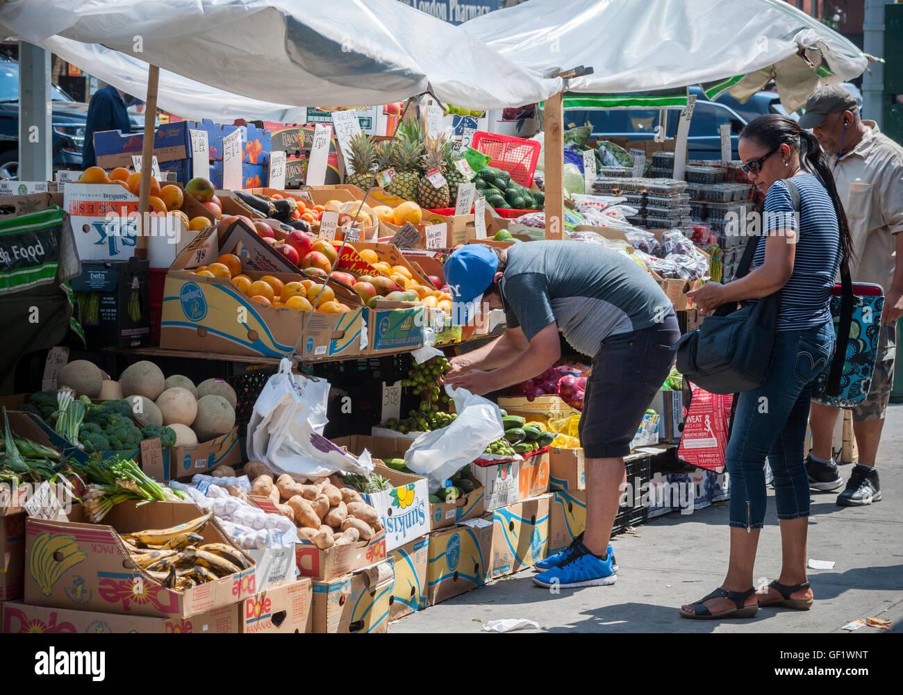 A fruit and vegetable stand in the Chelsea neighborhood of New York on Friday, July 22, 2016.  (© Richard B. Levine) Stock Photo