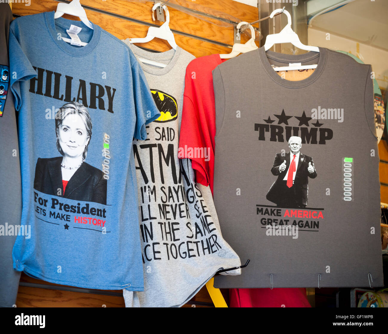 A New York souvenir store in Times Square on Friday, July 22, 2016 displays both Donald Trump and Hillary Clinton - Stock Image