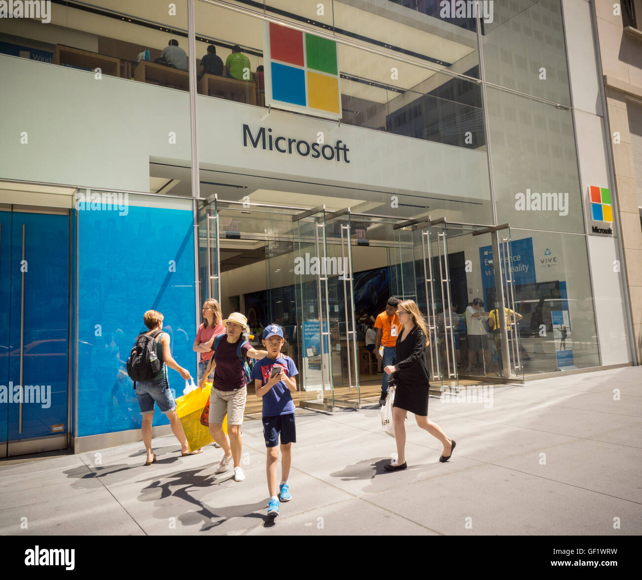The Microsoft flagship store on Fifth Avenue in New York, on Wednesday, July 20, 2016. Microsoft reported fiscal Stock Photo